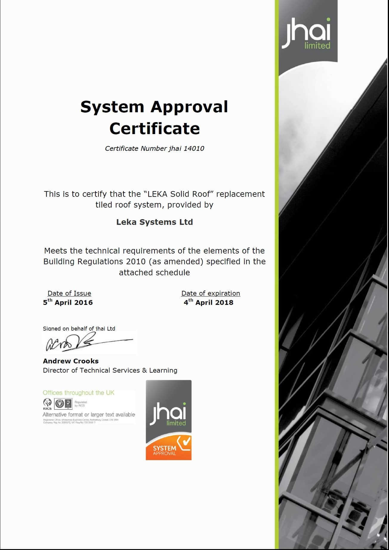 Certified building control