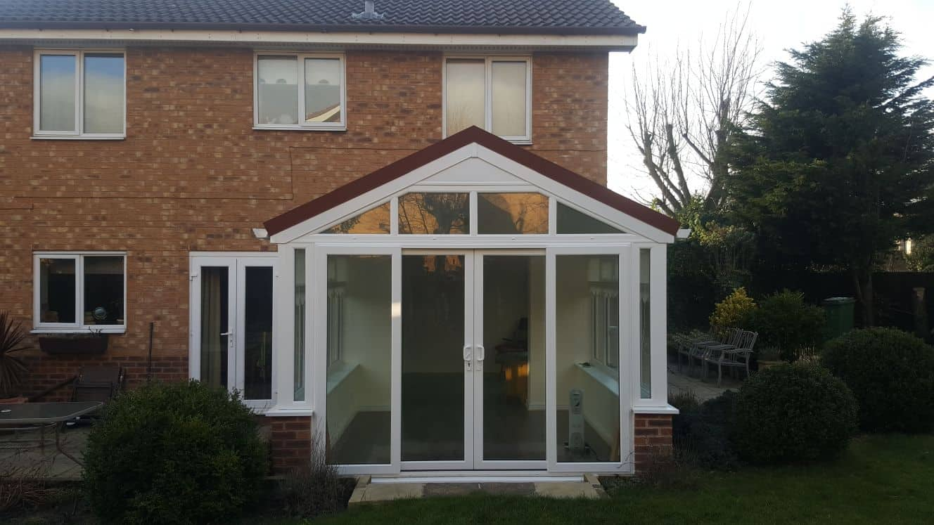 gable fronted conservatory with solid roof